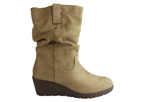 Isabella Brown Lacey Womens Comfortable Mid Calf Wedge Boots