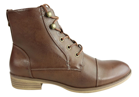 Isabella Brown Zoey Womens Comfortable Fashion Lace Up Ankle Boots