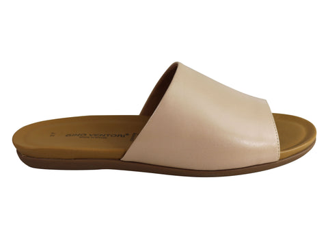 Gino Ventori Saviour Womens Soft Leather Slide Sandals Made In Brazil