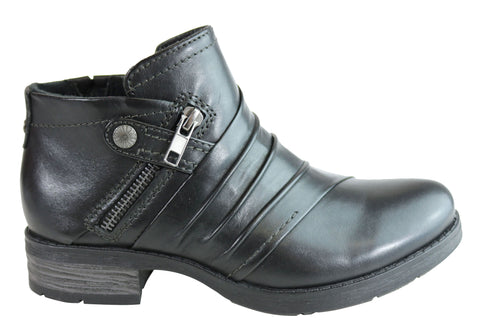 Planet Shoes Marie Womens Leather Comfy Ankle Boots With Arch Support