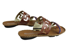 Andacco Energie Womens Comfortable Leather Flat Sandals Made In Brazil