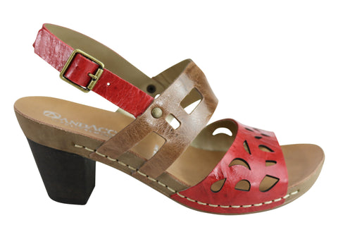 Andacco Amerila Womens Leather Comfort Mid Heel Sandals Made In Brazil