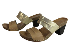 Andacco Vincenza Womens Leather Mid Heel Sandals Slides Made In Brazil
