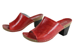Andacco Gallon Womens Leather Mid Heel Sandals Slides Made In Brazil