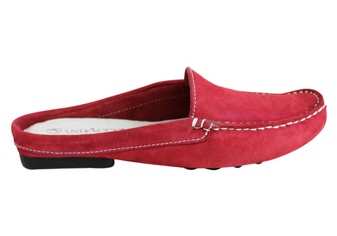 Andacco Trudi Womens Comfort Flat Leather Mules Loafers Made In Brazil