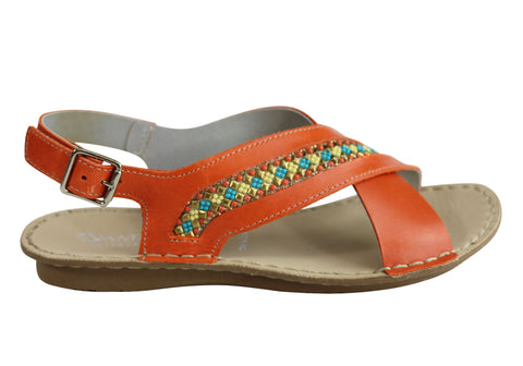 Andacco Veronique Womens Comfort Flat Leather Sandals Made In Brazil