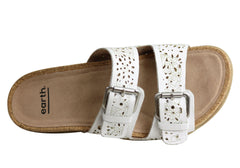 Earth Antigua Womens Comfortable Supportive Leather Slides Sandals