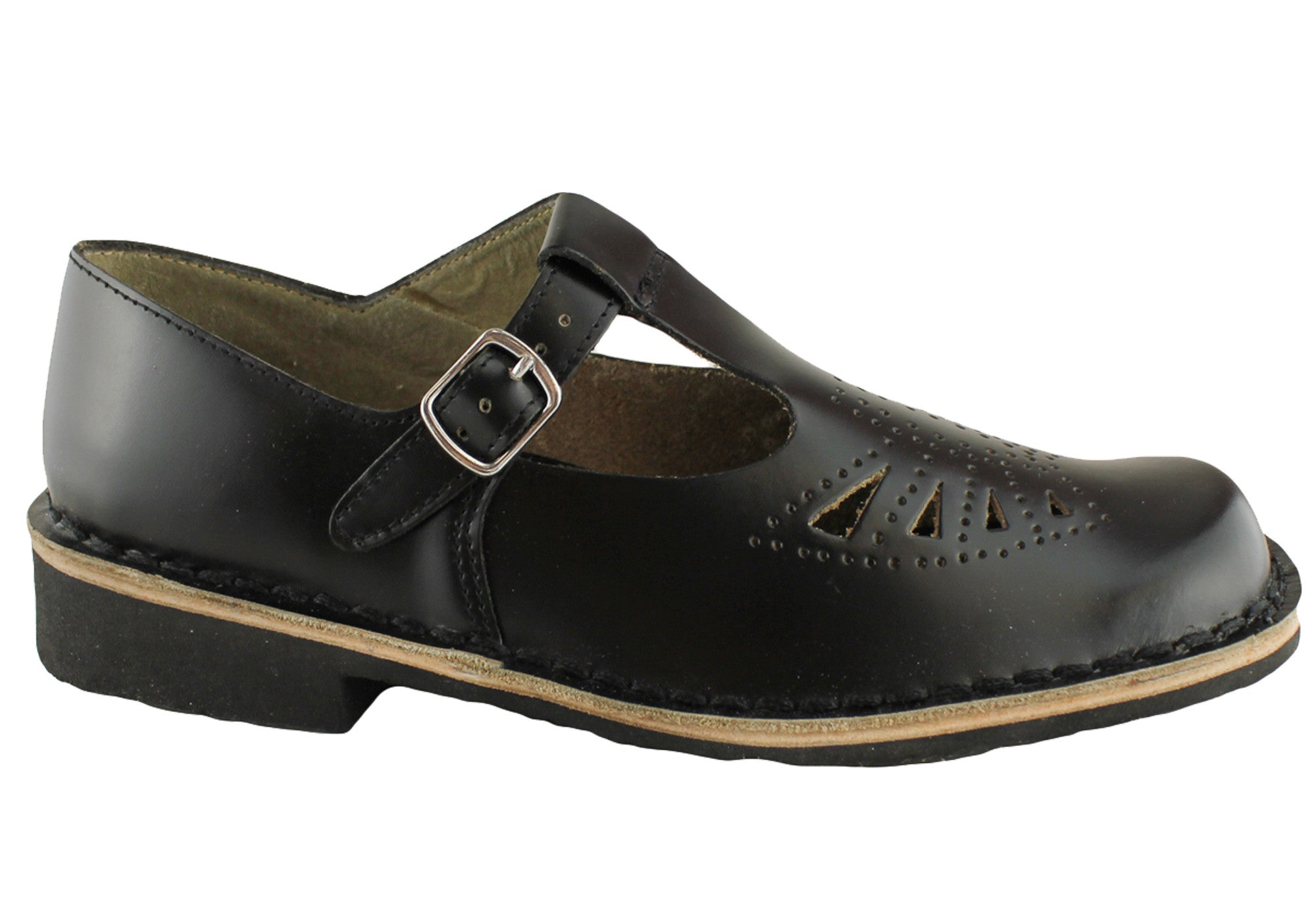 Black T Bar Svhool Shoes Brown Sole