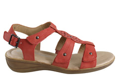 Hush Puppies Carmin Womens Comfortable Leather Adjustable Flat Sandals