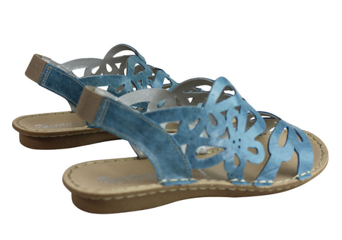 5833c999aca ... Blue  Andacco Desiree Womens Comfortable Flat Leather Sandals Made In  Brazil ...