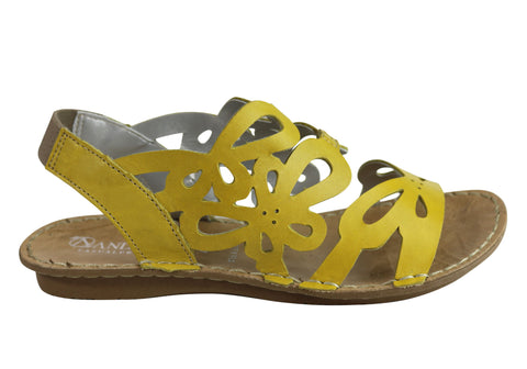 Andacco Desiree Womens Comfortable Flat Leather Sandals Made In Brazil