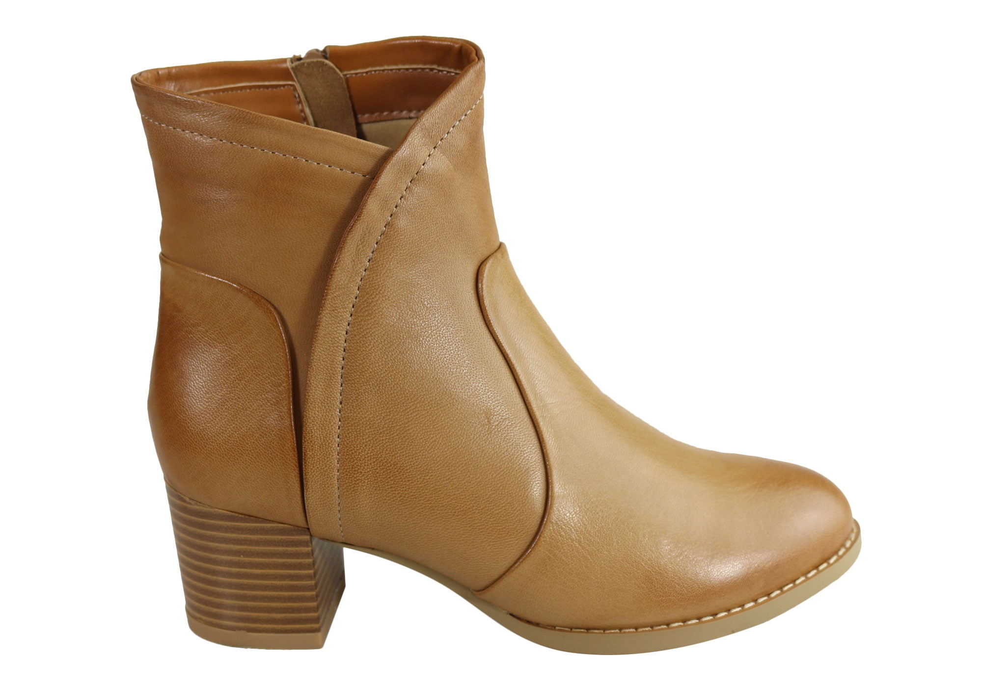 ee503dcbe895 Home Natural Comfort Malia Womens Leather Comfortable Mid Heel Ankle Boots.  Tan ...
