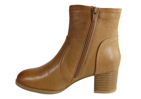 a4f4bbc3c099 Natural Comfort Malia Womens Leather Comfortable Mid Heel Ankle Boots