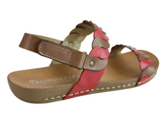 Andacco Vicuna Womens Comfortable Leather Flat Sandals Made In Brazil