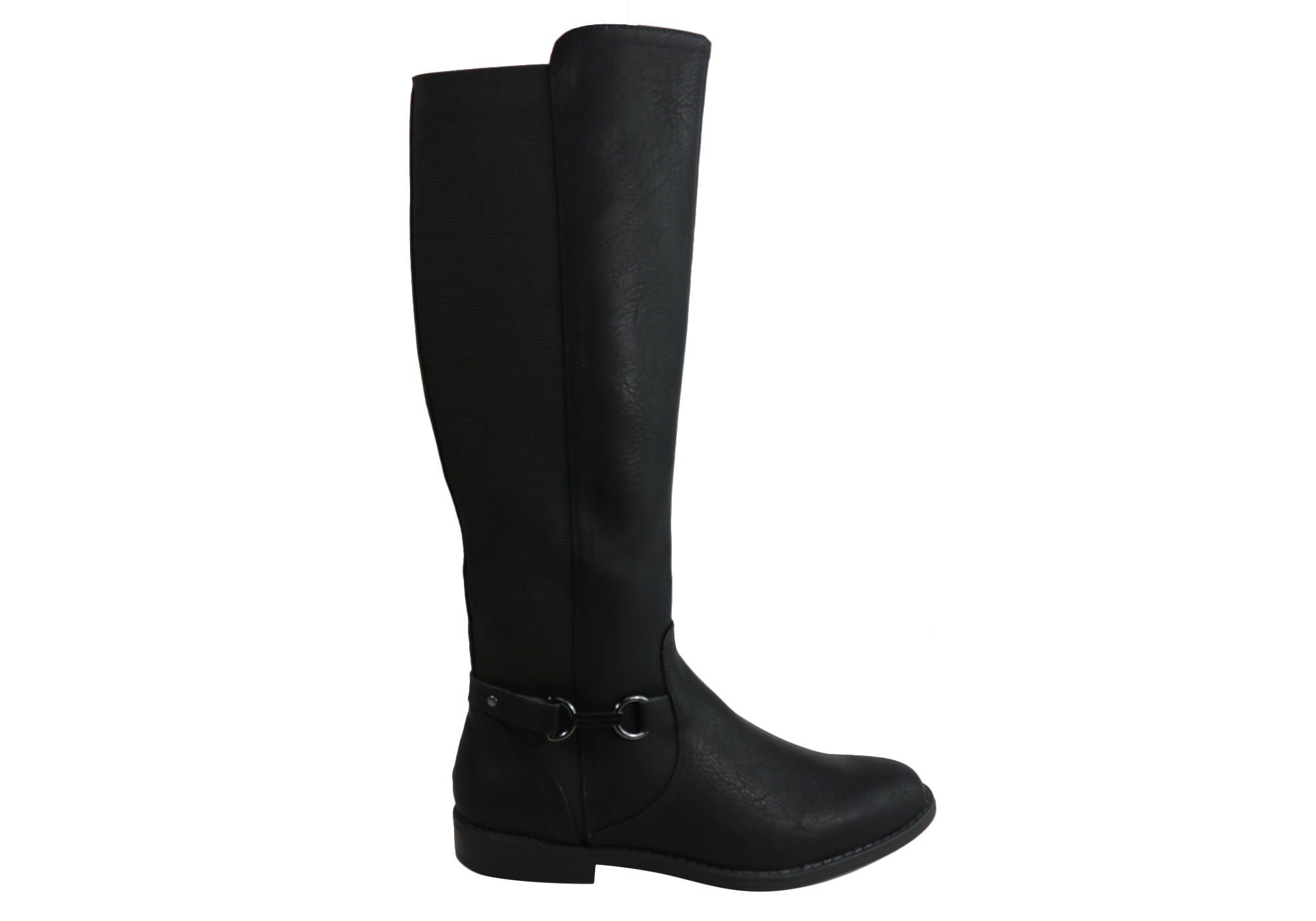 13999516733 Home Bellissimo Rebel 2 Womens Comfort Knee High Wide Calf Boots. Black   Black  Black