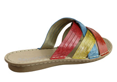 Andacco Memba Womens Comfortable Leather Slide Sandals Made In Brazil