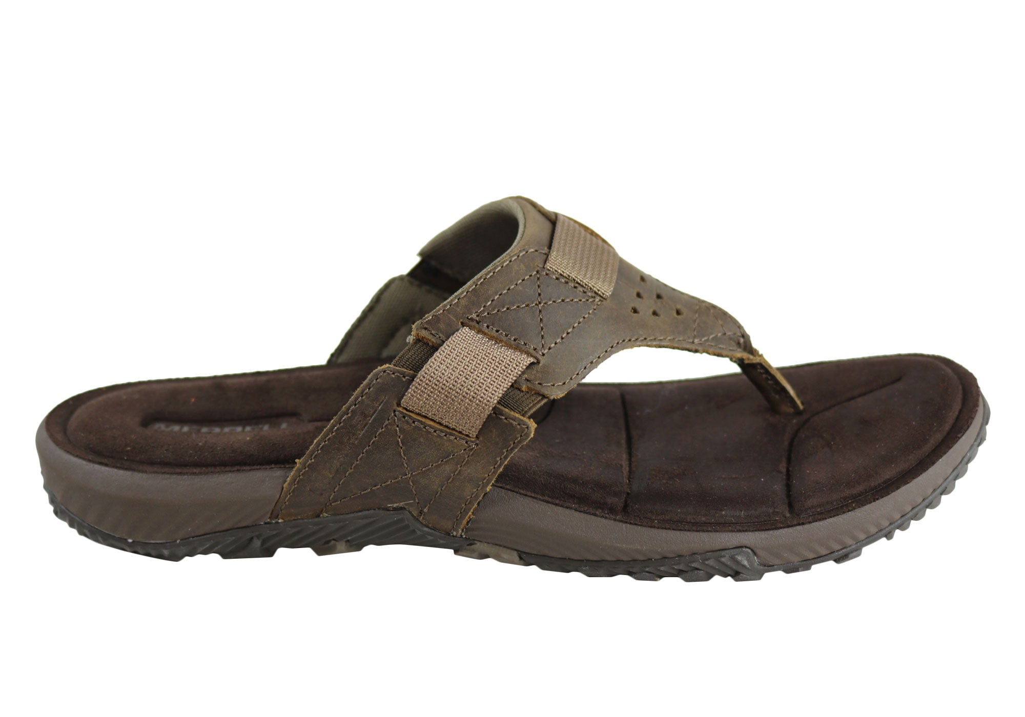 248672ba65f3 Home Merrell Terrant Thong Mens Comfortable Leather Sandals. Dark Earth ...