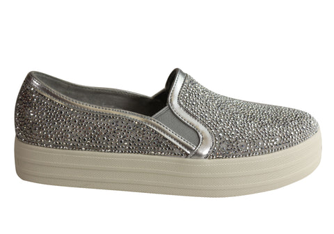 Skechers Womens Double Up Glitzzy Gal Memory Foam Slip On Shoes