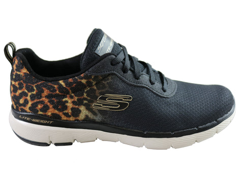 Skechers Womens Flex Appeal 3.0 Leopard Pounce Comfort Athletic Shoes