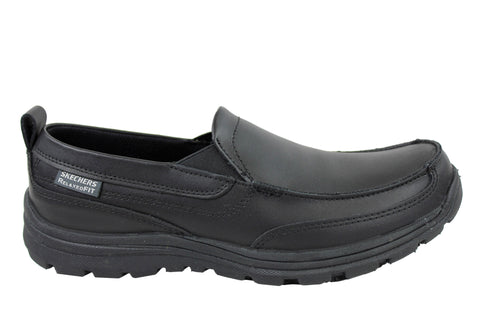 Skechers Hobbes Mens Leather Slip Resistant Work Shoes