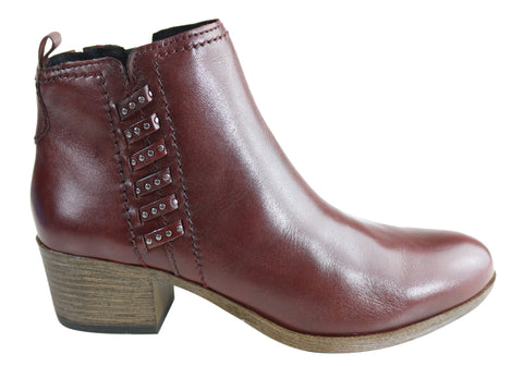 Gino Ventori Persia Womens Comfortable Leather Low Heel Ankle Boots