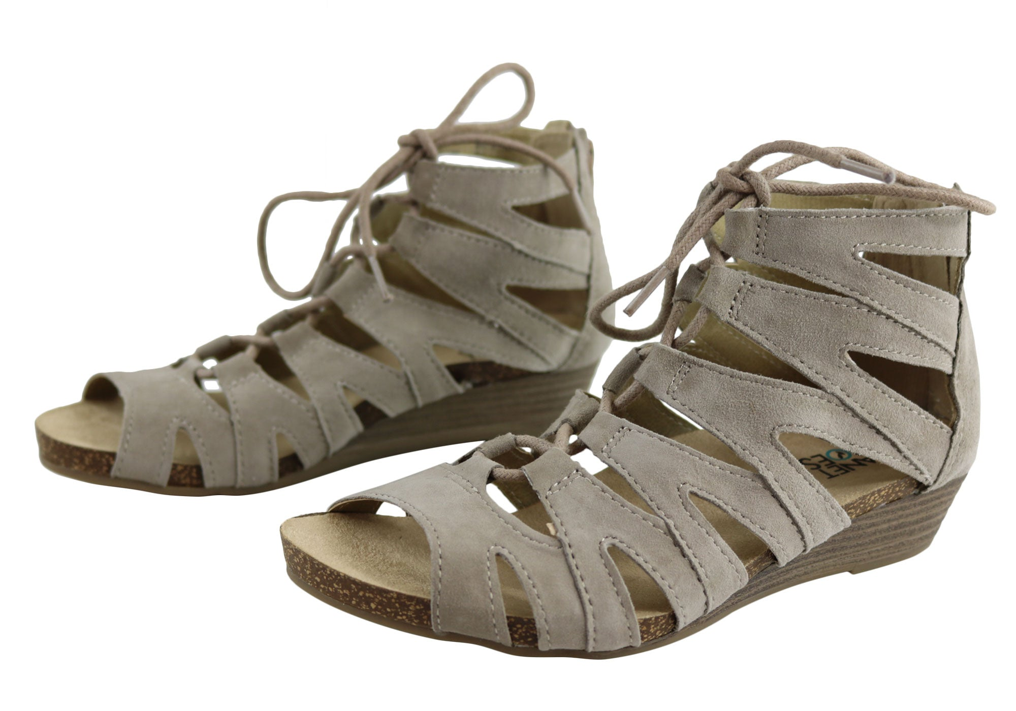 Planet Shoes Anita Womens Comfort Leather Gladiator Wedge ...