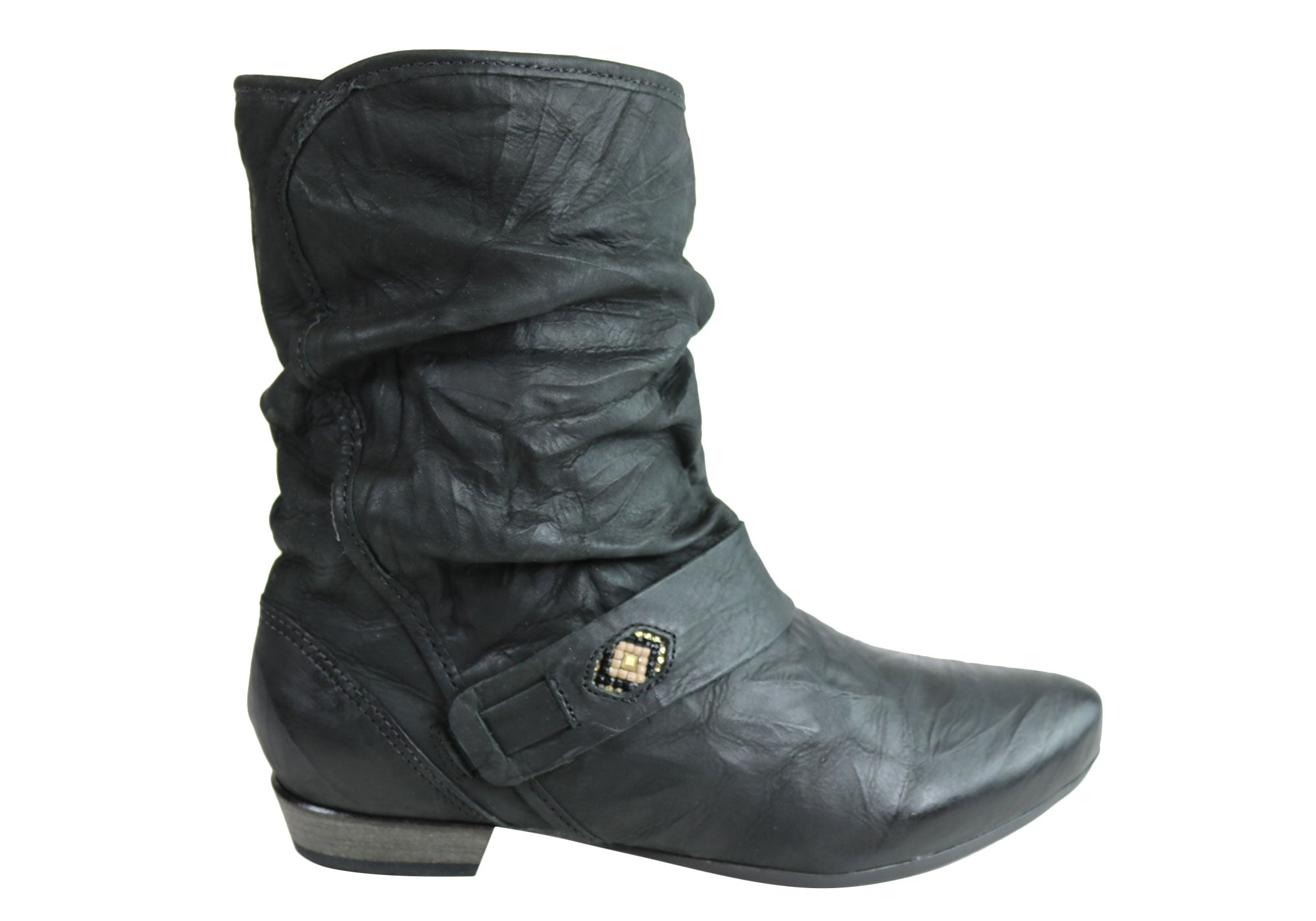 57869d1ed68c3 ... Womens Leather Comfortable Low Heel Boots Made In Brazil. Black ...