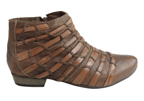 Andacco Divide Womens Leather Comfortable Ankle Boots Made In Brazil