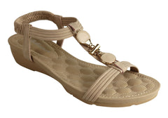 Bellissimo Maya Womens Comfortable Cushioned Low Wedge Fashion Sandals