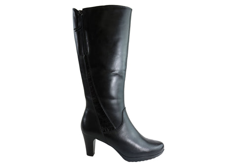 Gino Ventori Onasis Womens Mid Heel Leather Knee High Boots