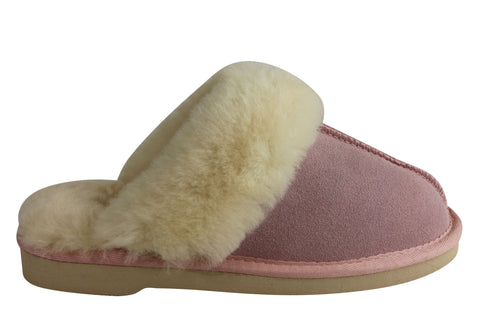 Grosby Doe Ugg Womens Warm Comfy Slippers Scuffs With Sheepskin Lining