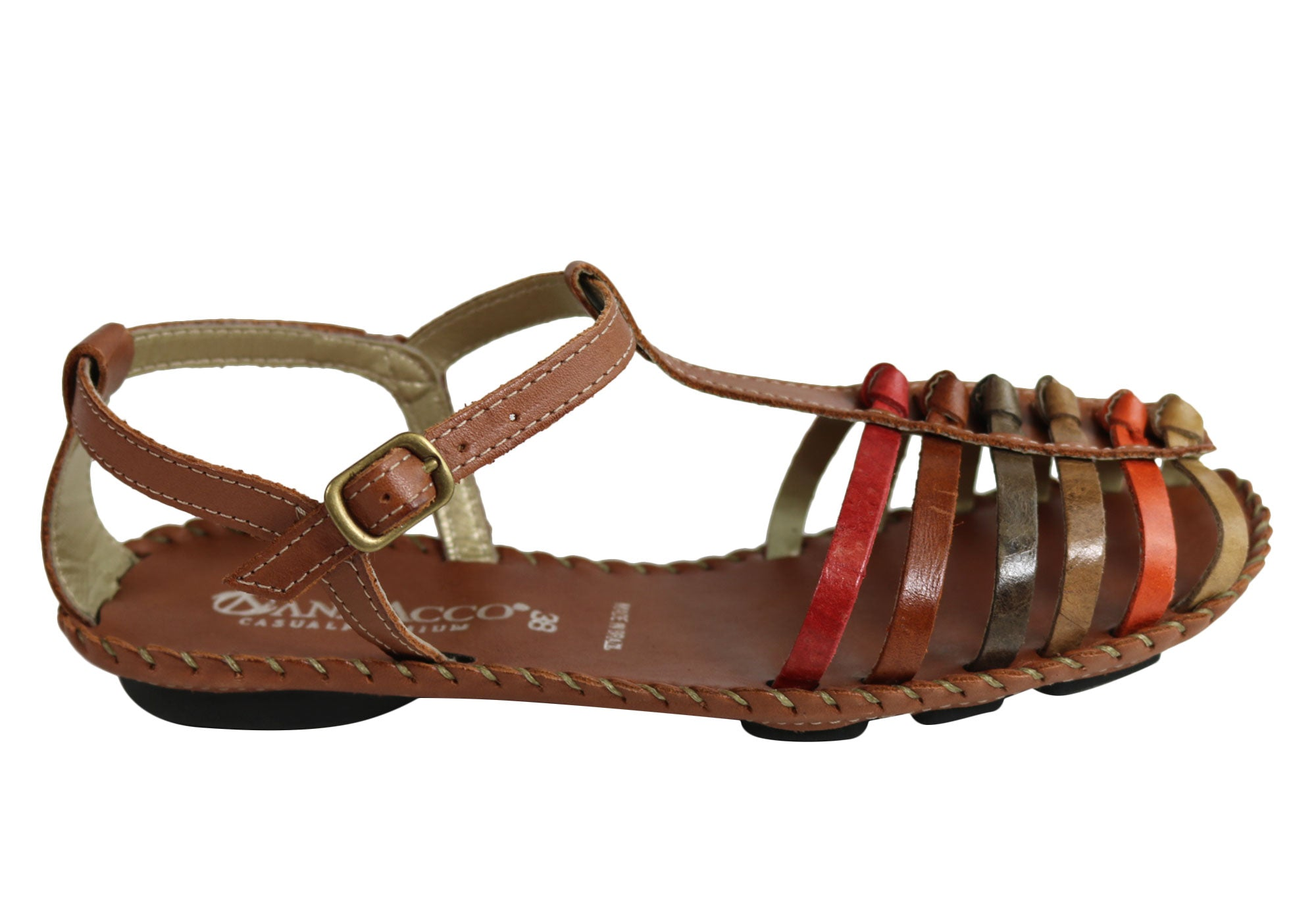 b57e874c8f7 Home Andacco Channa Womens Comfortable Flat Leather Sandals Made In Brazil.  Tan Multi ...