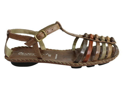 35a7740e6d0 Andacco Channa Womens Comfortable Flat Leather Sandals Made In Brazil