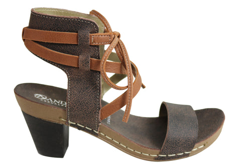 Andacco Nina Womens Leather Comfort Mid Heel Sandals Made In Brazil