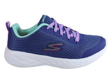 Skechers Go Run 600 Fun Run Kids Girls Comfy Lace Up Athletic Shoes