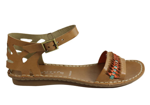Andacco Seattle Womens Comfortable Flat Leather Sandals Made In Brazil