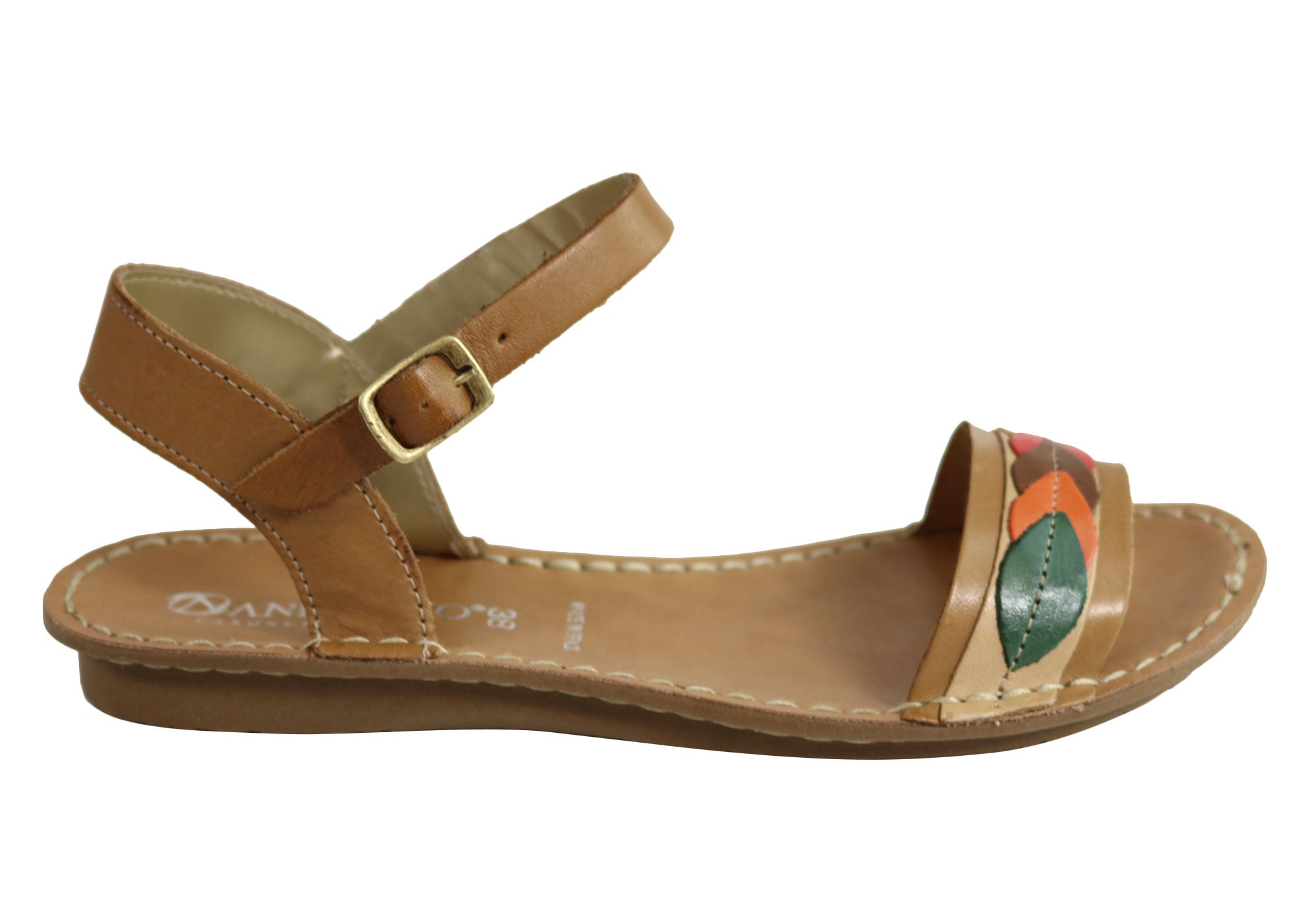 dbc09872d567 Home Andacco Petal Womens Comfortable Flat Leather Sandals Made In Brazil.  Tan ...
