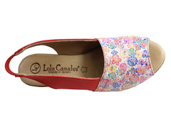 Lola Canales Loreta Womens Comfort Leather Wedge Sandals Made In Spain