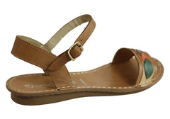 Andacco Petal Womens Comfortable Flat Leather Sandals Made In Brazil