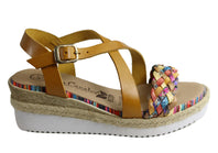 Lola Canales Hana Womens Comfort Leather Wedge Sandals Made In Spain