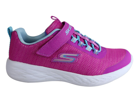 Skechers Go Run 600 Sparkle Runner Kids Girls Slip On Athletic Shoes