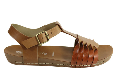 Andacco Twine Womens Comfortable Flat Leather Sandals Made In Brazil