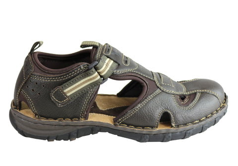 5a21ee56f730 Wild Rhino Pitt Mens Comfortable Leather Closed Toe Sandals Shoes