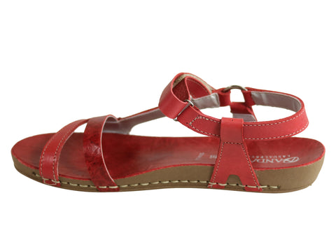 NEW ANDACCO MISSION WOMENS COMFORTABLE FLAT LEATHER SANDALS MADE IN BRAZIL