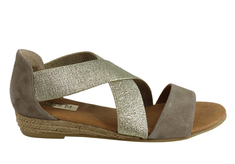 st martin map Pinaz 316 Womens Leather Closed Back Low Wedge Sandals Made  In Spain