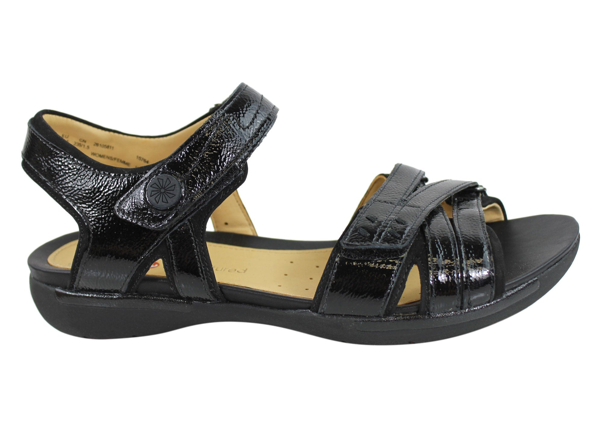 15b24c018925 Home Clarks Un Vasha Womens Leather Comfortable Sandals. Black Patent ...