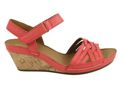 Clarks Rusty Wish Womens Leather Wedge Heel Sandals