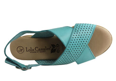 Lola Canales Eden Womens Comfort Leather Wedge Sandals Made In Spain