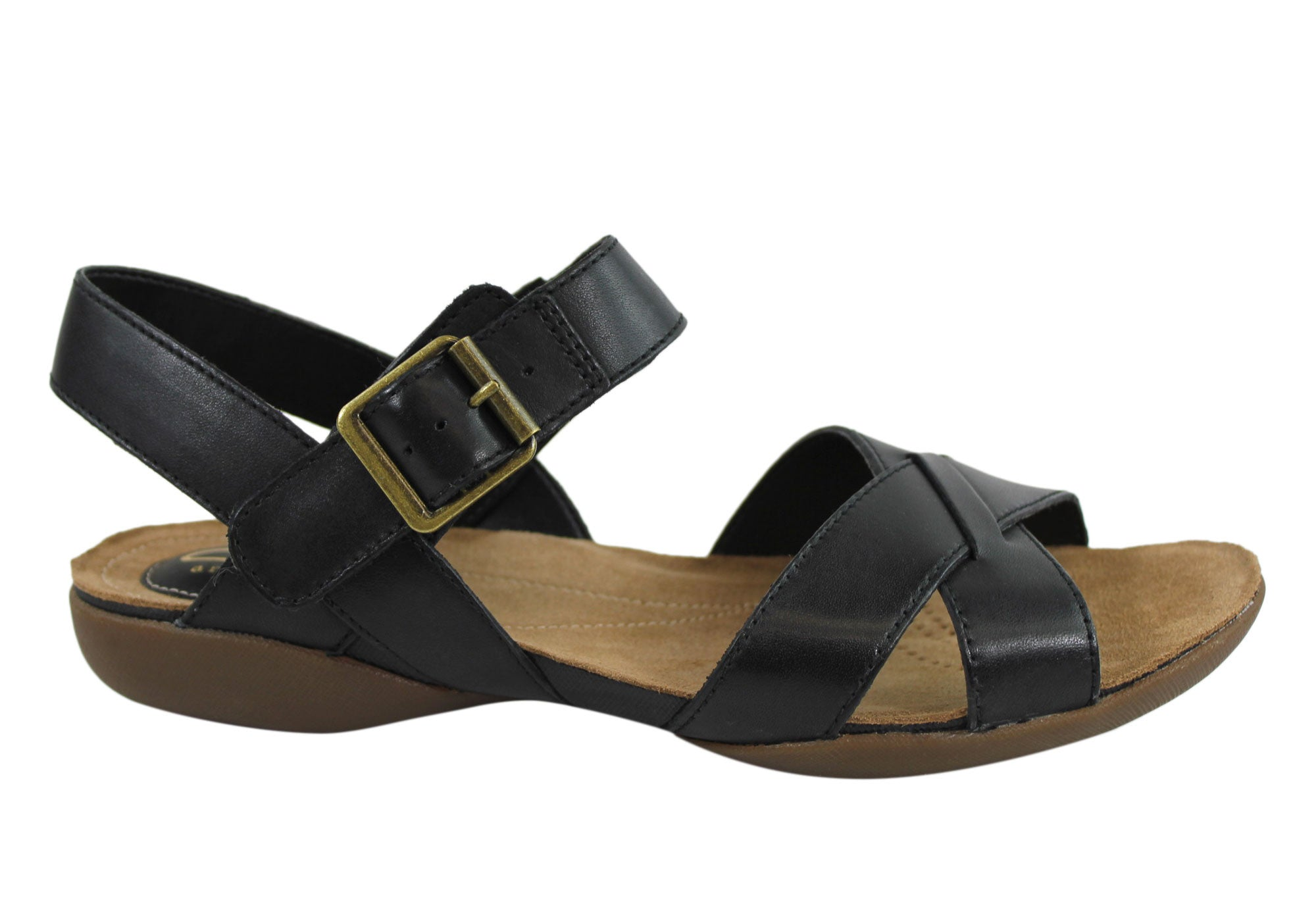 56dd78a90ac7 Home Clarks Raffi Flower Womens Comfortable Leather Sandals. Black ...