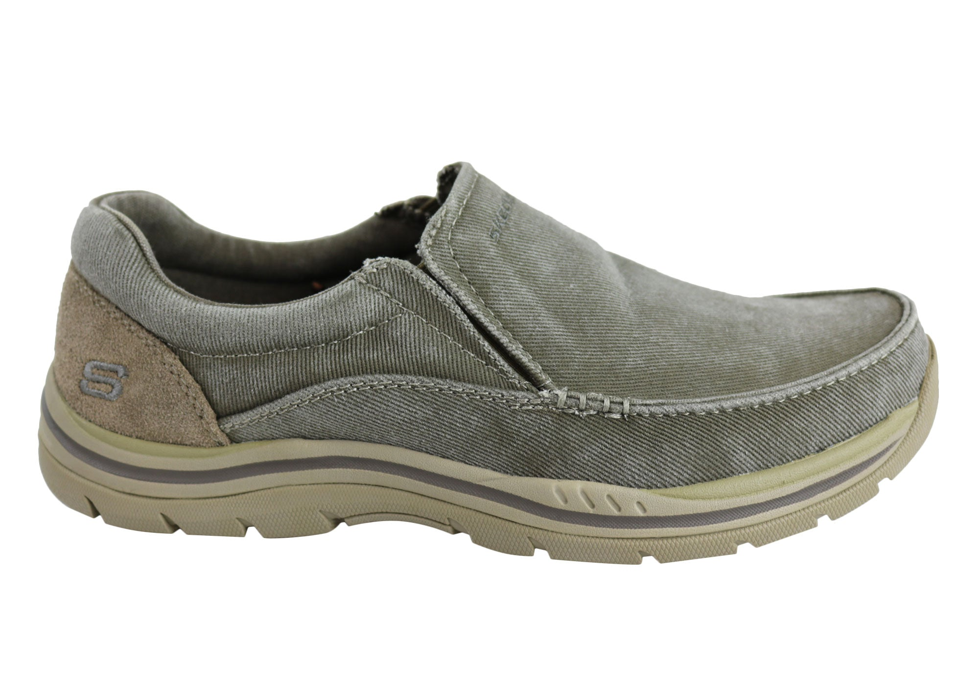 9d18a9c7 Home Skechers Relaxed Fit Expected Avillo Mens Memory Foam Slip On Shoes.  Khaki ...